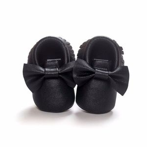 Other - Black with Bow Baby Moccasins - Tassel Shoes